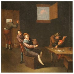 17th Century Oil on Canvas Flemish Painting Interior Scene with Characters, 1680