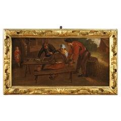 17th Century Oil on Canvas Flemish Painting Tavern Scene, 1650
