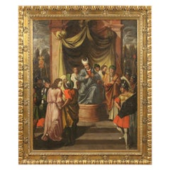 17th Century Oil on Canvas German Antique Painting Jesus in front of Caiaphas