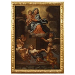 17th Century Oil on Canvas Italian Antique Religious Painting Loreto Miracle