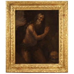 17th Century Oil on Canvas Italian Antique Religious Painting Saint Jerome, 1680