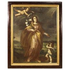 17th Century Oil on Canvas Italian Antique Religious Painting Saint Liberata
