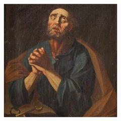 17th Century Oil on Canvas Italian Antique Religious Painting Saint Peter, 1680