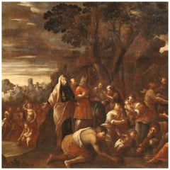 17th Century Oil on Canvas Italian Biblical Painting Manna from Heaven, 1650