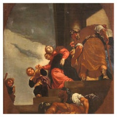 17th Century Oil on Canvas Italian Biblical Painting Repudiation of Vasti, 1670