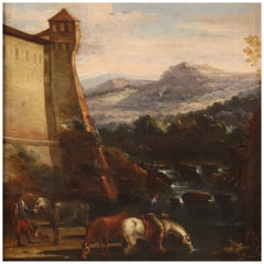 17th Century Oil on Canvas Italian Landscape Painting, 1670