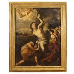 17th Century Oil on Canvas Italian Religious Antique Painting Saint Sebastian