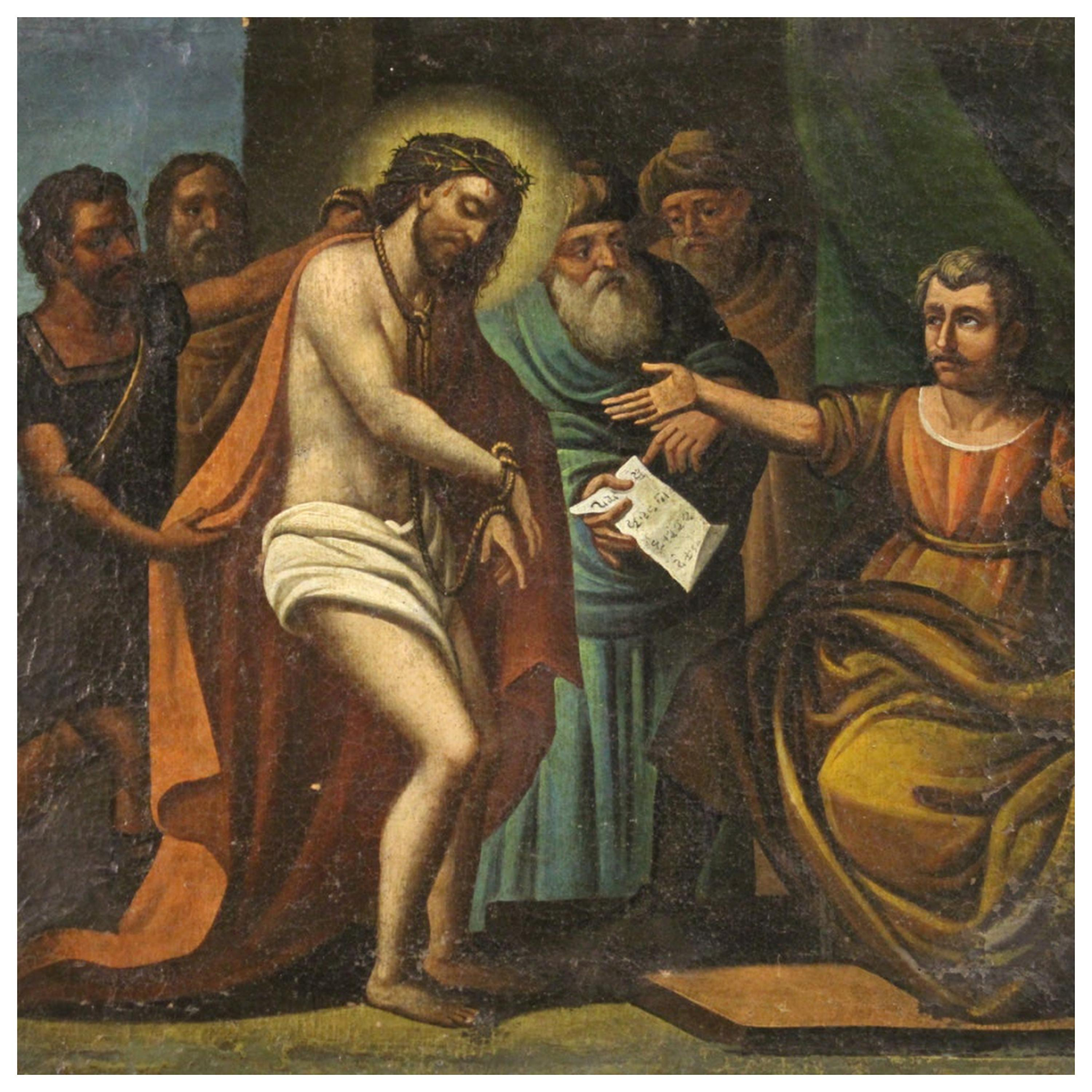 17th Century Oil on Canvas Italian Religious Painting Christ Before Pilate, 1670