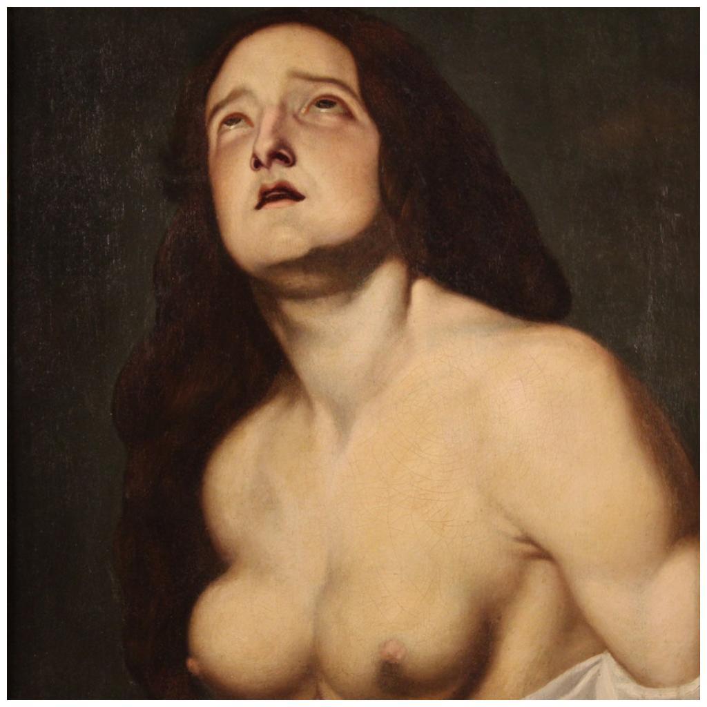 17th Century Oil on Canvas Italian Religious Painting Saint Agatha, 1630