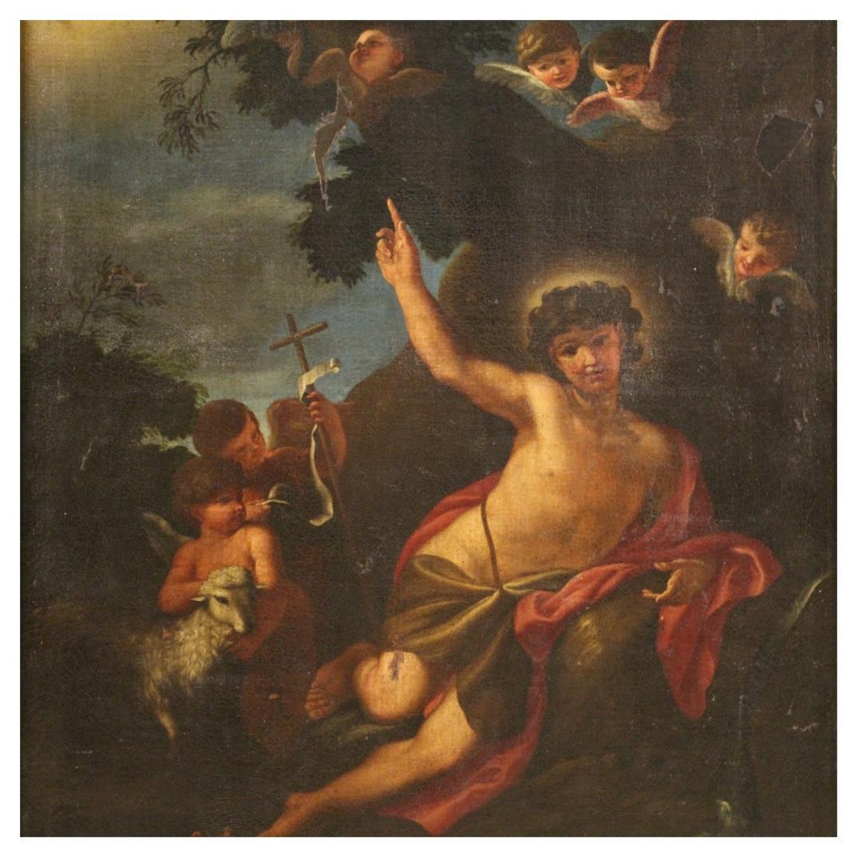 17th Century Oil on Canvas Italian Religious Painting Saint John Baptist, 1680