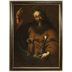 17th Century Oil on Canvas Italian Religious Painting Saint Paul, 1670