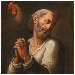 17th Century Oil on Canvas Italian Religious Painting Saint Peter, 1660