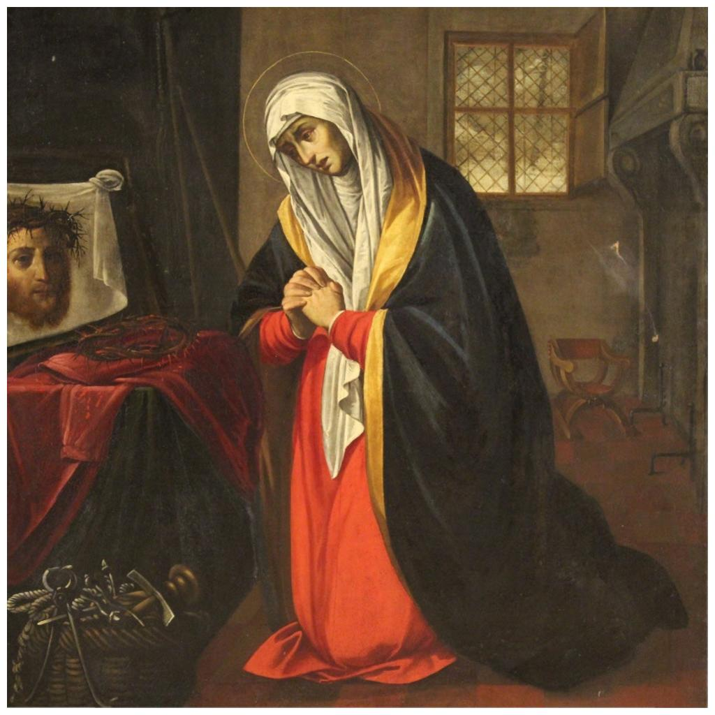 17th Century Oil on Canvas Italian Religious Painting Saint Veronica, 1660