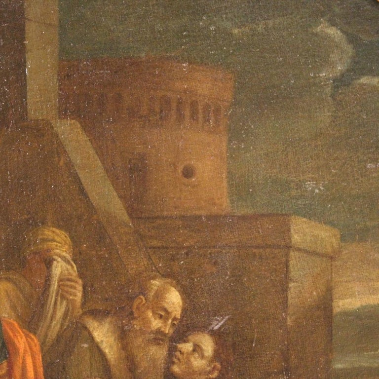 17th Century Oil on Canvas Italian Religious Painting The Prodigal Son, 1680 For Sale 5