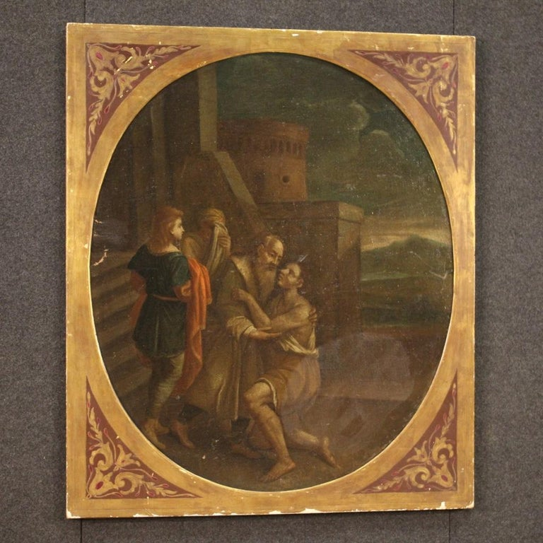 17th Century Oil on Canvas Italian Religious Painting The Prodigal Son, 1680 For Sale 6