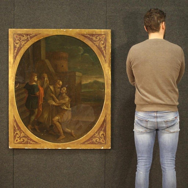 Oiled 17th Century Oil on Canvas Italian Religious Painting The Prodigal Son, 1680 For Sale