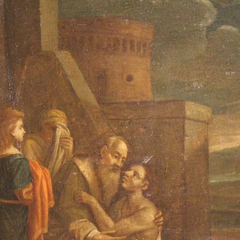 17th Century Oil on Canvas Italian Religious Painting The Prodigal Son, 1680 For Sale 2