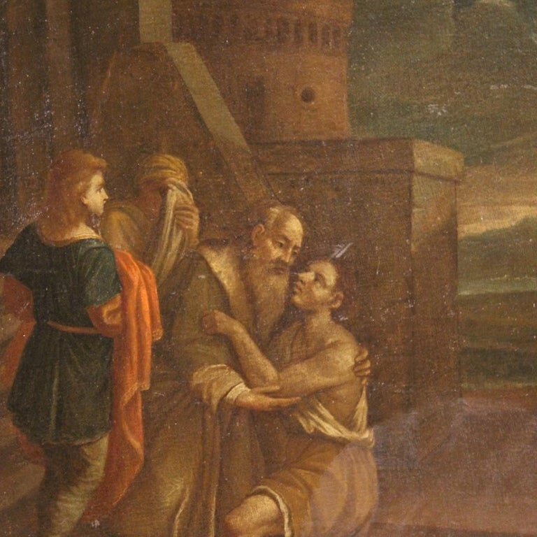 17th Century Oil on Canvas Italian Religious Painting The Prodigal Son, 1680 For Sale 3