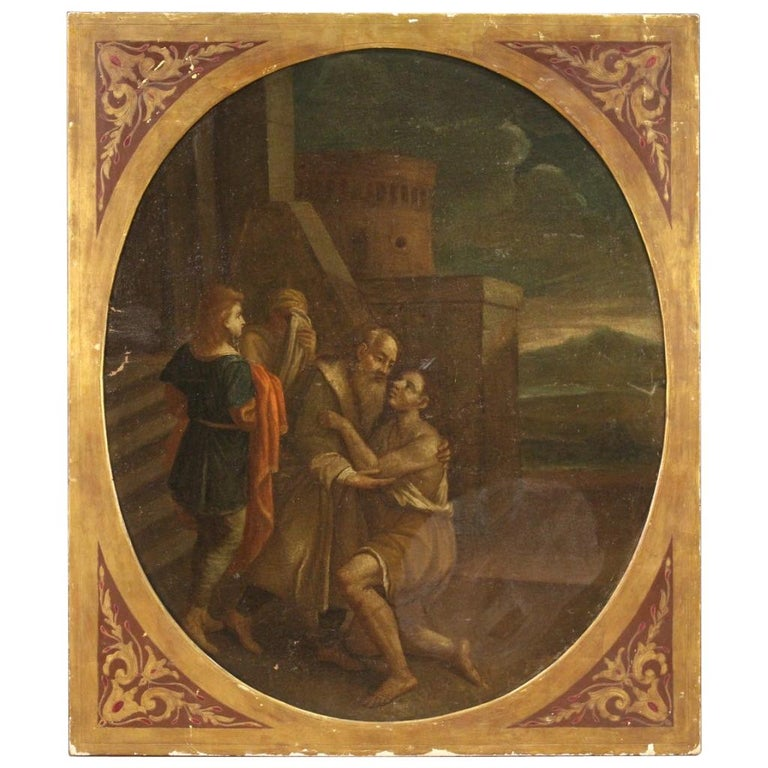 17th Century Oil on Canvas Italian Religious Painting The Prodigal Son, 1680 For Sale