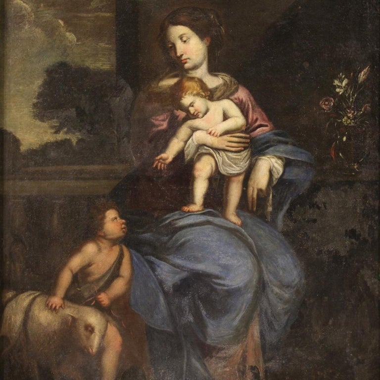17th Century Oil on Canvas Italian Religious Painting Virgin with Child, 1670 For Sale 8