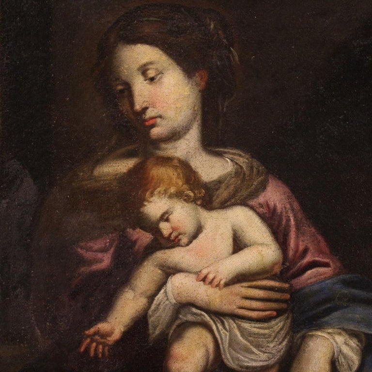 17th Century Oil on Canvas Italian Religious Painting Virgin with Child, 1670 For Sale 2