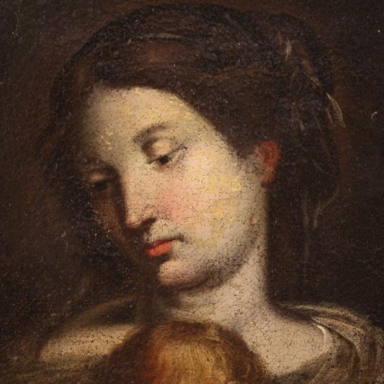 17th Century Oil on Canvas Italian Religious Painting Virgin with Child, 1670 For Sale 3