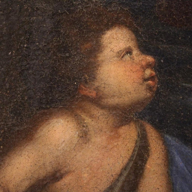 17th Century Oil on Canvas Italian Religious Painting Virgin with Child, 1670 For Sale 4
