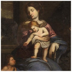 17th Century Oil on Canvas Italian Religious Painting Virgin with Child, 1670