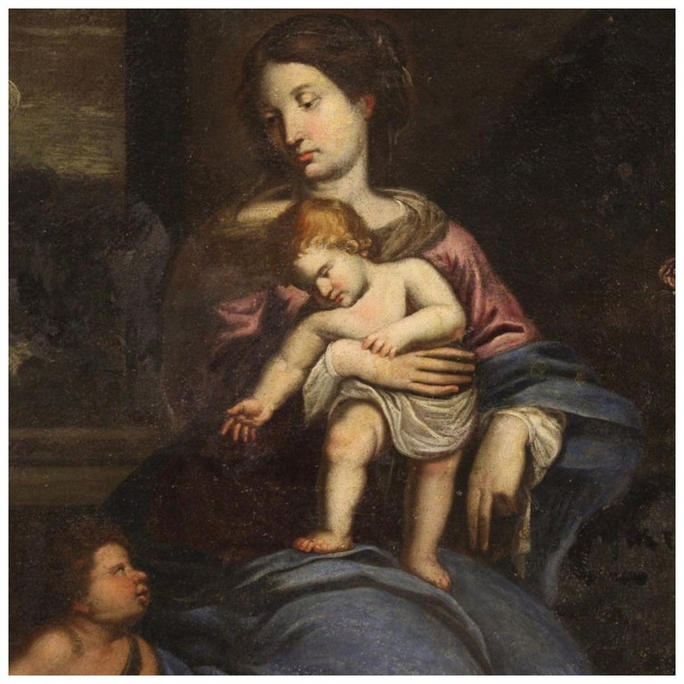 17th Century Oil on Canvas Italian Religious Painting Virgin with Child, 1670 For Sale
