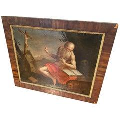 17th Century Oil on Canvas S. Girolamo in the Desert