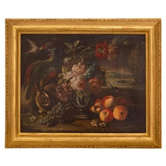 17th Century Oil on Canvas Still Life Painting, in a 19th Century Giltwood Fram