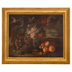 17th Century Oil on Canvas Still Life Painting, in a 19th Century Giltwood Frame