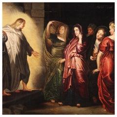 17th Century Oil on Oak Panel Flemish Antique Religious Painting, 1680