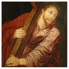 17th Century Oil on Oak Panel Flemish Religious Painting Christ, 1650
