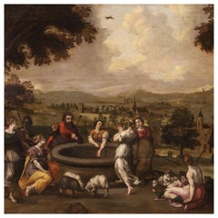 17th Century Oil on Panel Flemish Antique Painting Biblical Scene, 1650