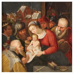 17th Century Oil on Panel Flemish Antique Painting The Adoration of Magi, 1640