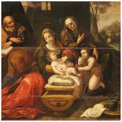17th Century Oil on Panel Italian Religious Painting Holy Family, 1650