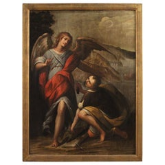 17th Century Oil on Panel Italian Religious Painting Tobias and the Angel, 1660