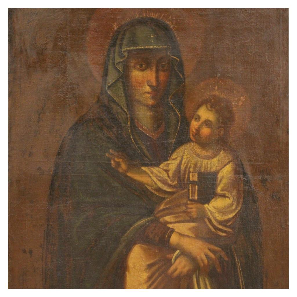 17th Century Oil on Canvas Italian Religious Painting Virgin with Child, 1630