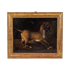 17th Century Oil Painting of a Dog at Play