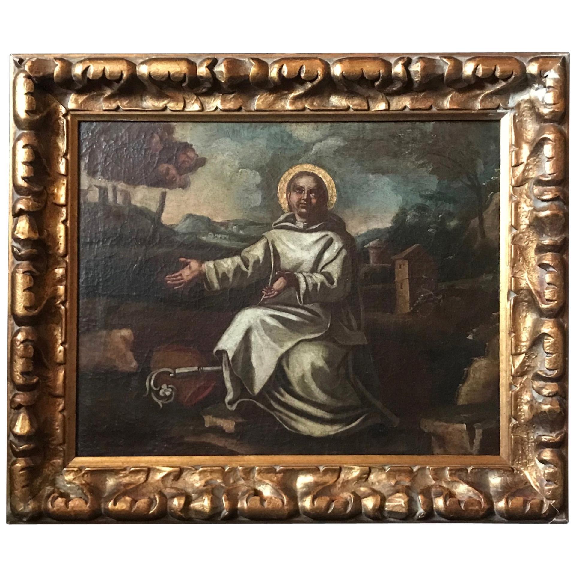 17th Century Old Master Oil Painting Saint Bernard of Clairvaux, Spanish School