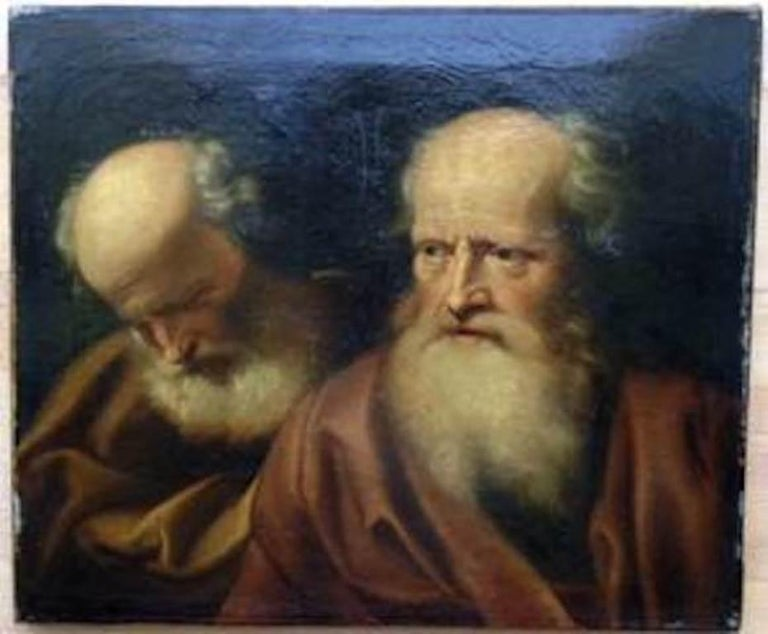A fine 17th century old master painting by Balthazar Denner (1685 Hamburg-1749 Rostock, Germany). Portrait of two philosophers. Title and artist certified by Christies in London.   At the age of eight Balthazar Denner already demonstrated his talent