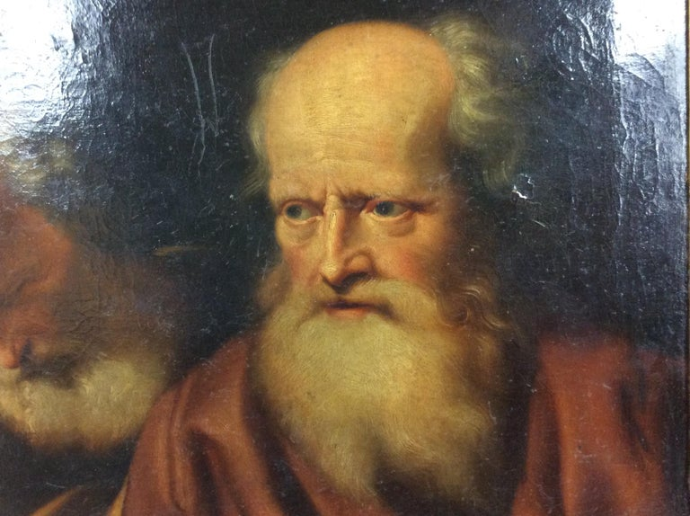 German 17th Century Old Master Painting Balthazar Denner Study of Two Philosophers For Sale