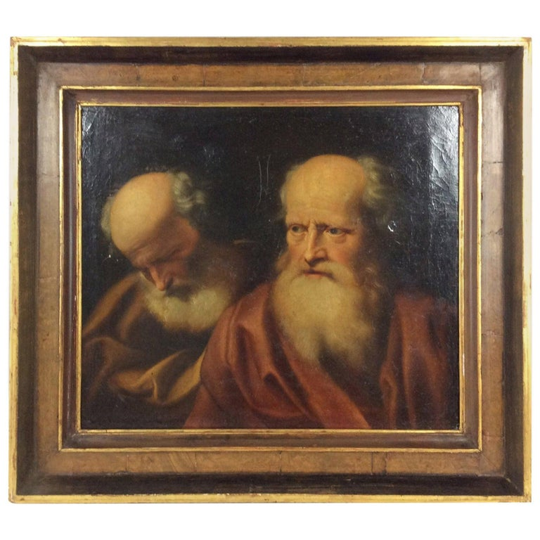 17th Century Old Master Painting Balthazar Denner Study of Two Philosophers For Sale