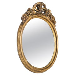 17th Century Oval Giltwood Gold Leaf Baroque Mirror Signed Barris Roma