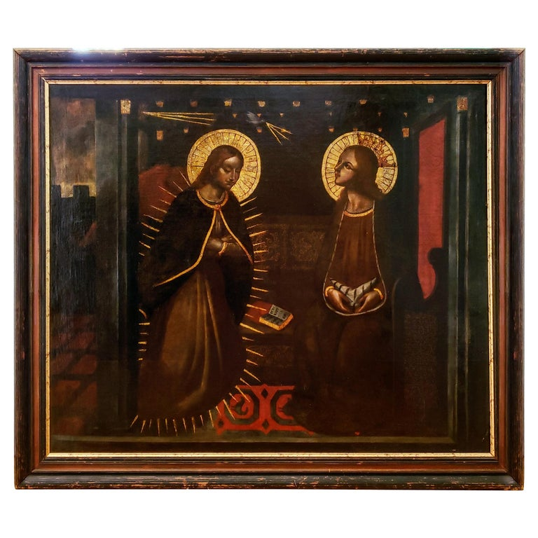 """""""The Annunciation""""  17th-18th Century Oil on Canvas For Sale"""
