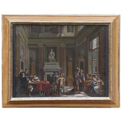 17th Century Painting Oil on Canvas Signed Flemish Coeval Frame, 1600