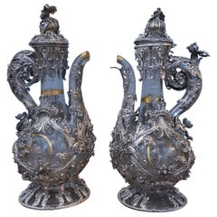 17th Century Pair of Ampoules Silver, Silver Filigree Blown and Engraved Glass