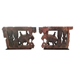 17th Century Pair of Brackets with Elephants and Mahuts