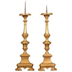 17th Century Pair of Candlesticks, Italy